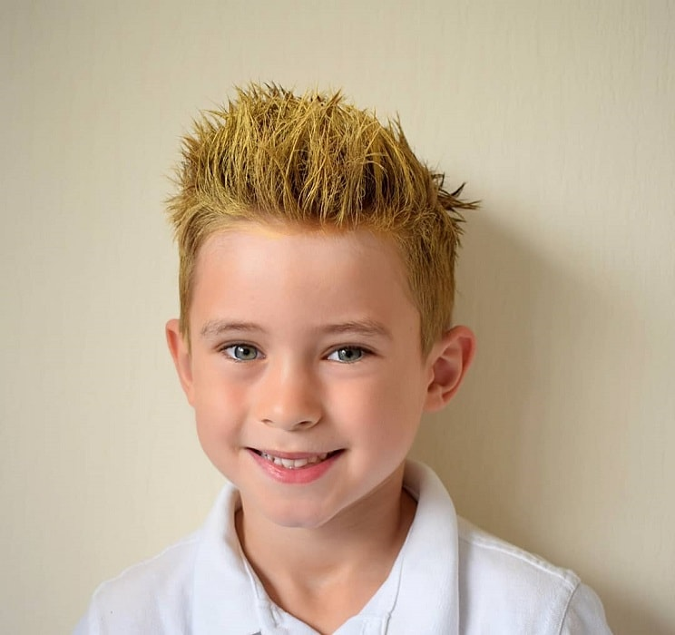 boy's yellow spiky haircut