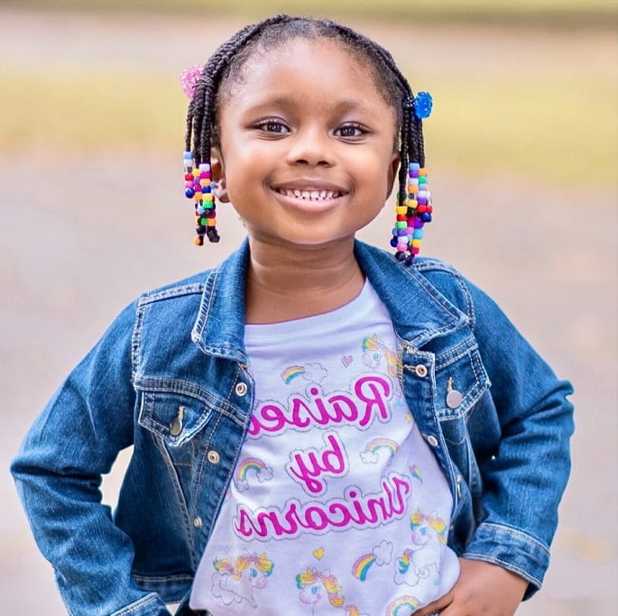 little girl's natural hairstyle with beads