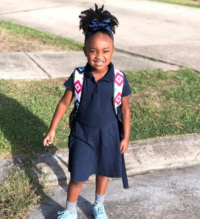 little girl's natural hairstyle for school