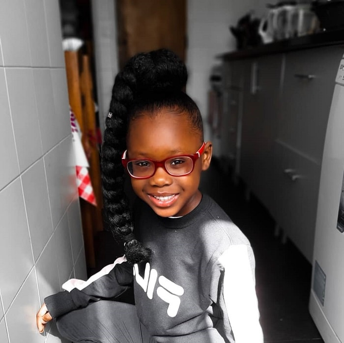 long natural hairstyle for little girl