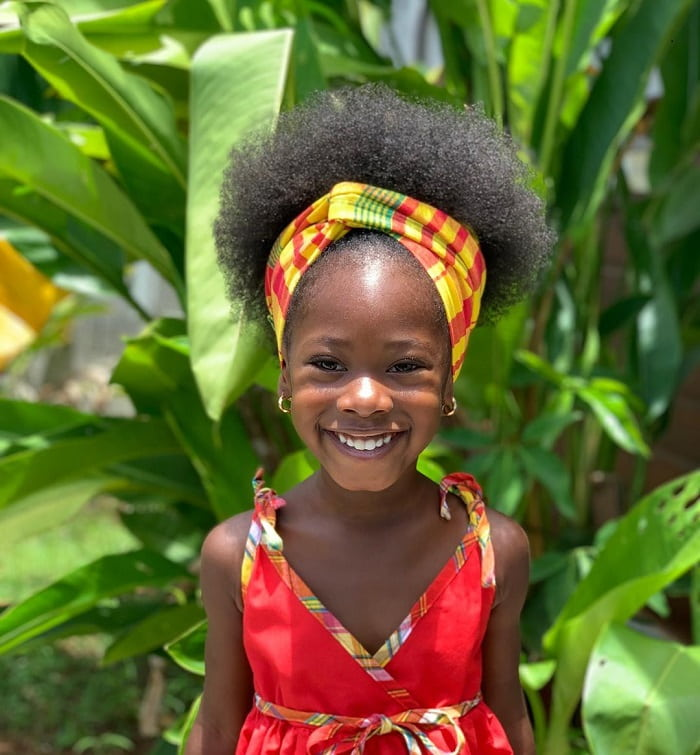 natural hairstyle for little afro girl